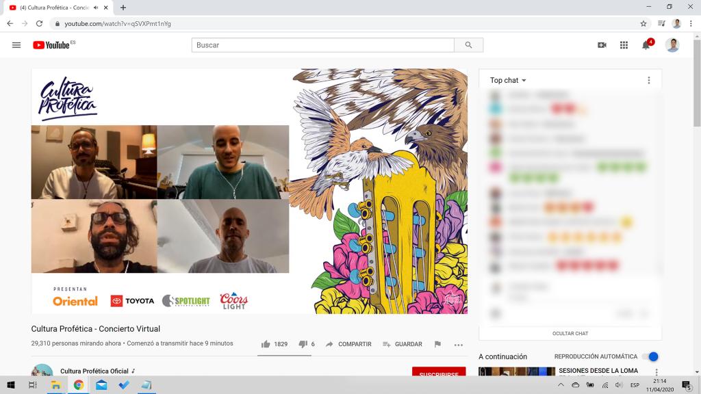 Screenshot de transmisión de concierto virtual de Cultura Profética